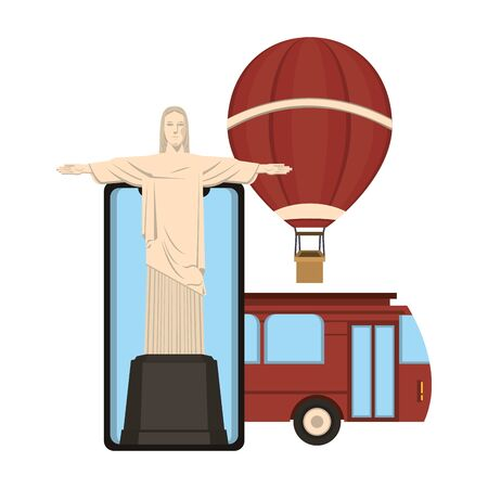 Travel vacations redemeer christ on smartphone with bus and hot air balloon cartoons