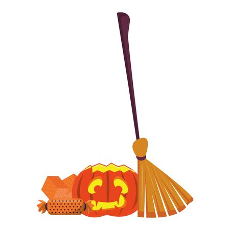 halloween sweet candies with pumpkin and broom vector illustration design