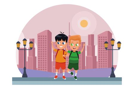 childhood adorable school students happy boys friends wearing backpack cartoon in the city park, nature and urban scenery ,vector illustration graphic design.