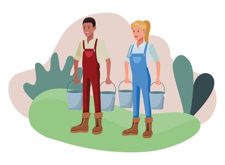 farm, animals and farmer afroamerican man with pails and woman holding two pails avatar cartoon character over the grass with shruberry and plants vector illustration graphic design