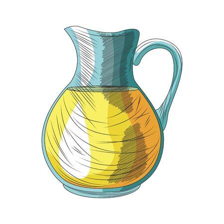lemonade jug icon over white background, vector illustration