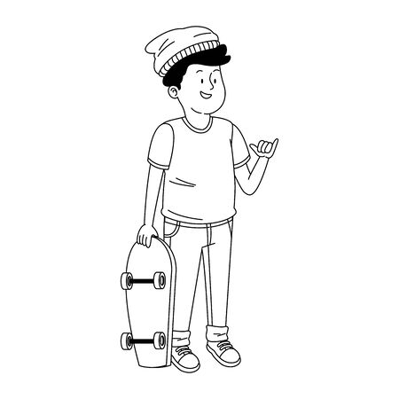 cool teen boy with skateboard over white background, vector illustration Illustration