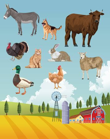 group of animals farm with stable in the camp vector illustration design Illustration