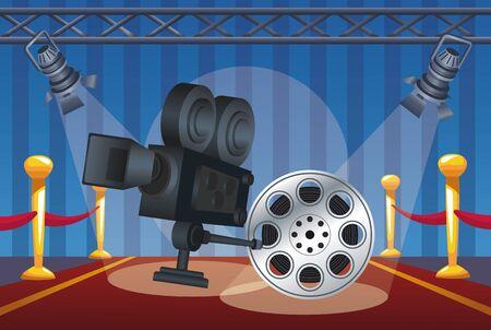 cinema entertainment with reel and camera vector illustration design Vektoros illusztráció