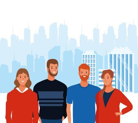cartoon men and women smiling over urban city landscape background, colorful design. vector illustration