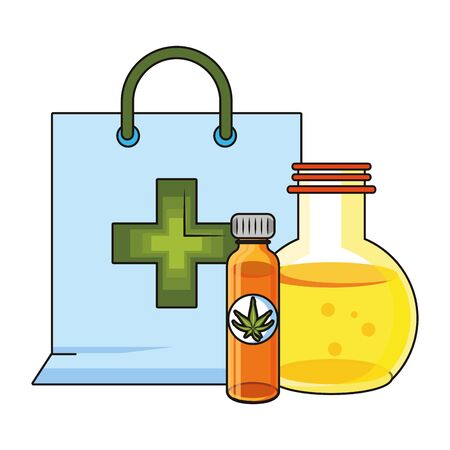 cannabis martihuana medical marijuana medicine sativa hemp oil bottles cartoon vector illustration graphic design Ilustração