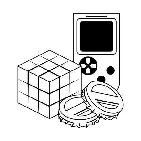 pop art design of soda caps with retro portable videogame and scramble cube icon over white background, vector illustration Illustration