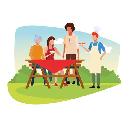 avatar friends eating sandwiches and enjoying a picnic time outdoor, colorful design , vector illustration Ilustrace