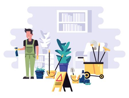 man worker housekepping with equipment vector illustration design