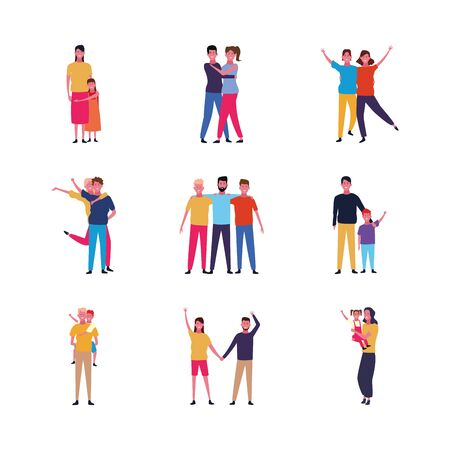 set of cartoon people family and friends happy over white background, colorful design. vector illustration