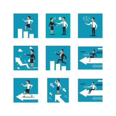 bundle of business people working vector illustration design