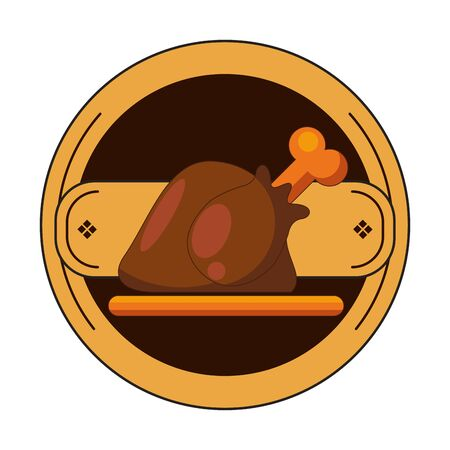 happy thanksgiving day card with turkey cooking vector illustration design
