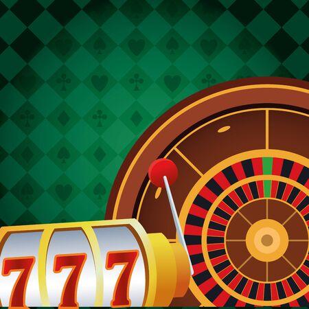 slot machine roulette betting game gambling casino vector illustration