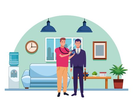 Professionals workers photographer and businessman smiling cartoons inside house living room background ,vector illustration graphic design.