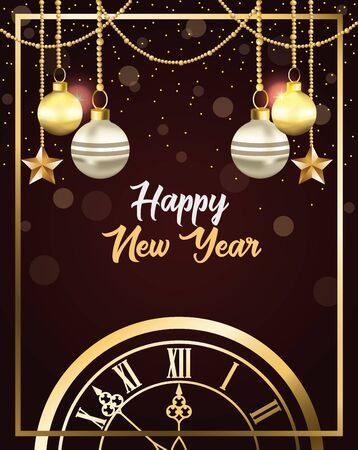 happy new year card with watch and balls hanging vector illustration design