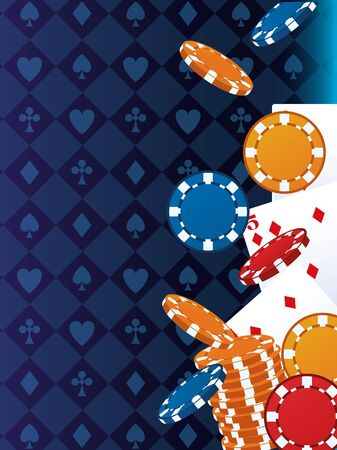 poker cards and chips betting game gambling casino vector illustration