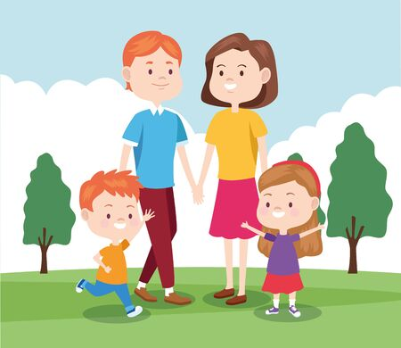 cartoon happy family with their kids in the park in the park, colorful design , vector illustration