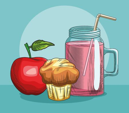 fresh fruit apple muffin and juice food healthy vector illustration Çizim