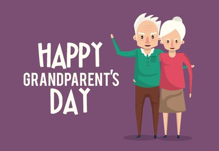Happy grandparents day card with grandfather and grandmother couple cartoons ,vector illustration graphicdesign. Иллюстрация