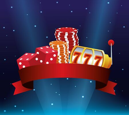 slot machine dices pile chips betting game gambling casino banner vector illustration