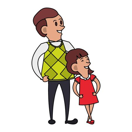 fathers day family celebration, father with daughter isolated cartoon vector illustration graphic design