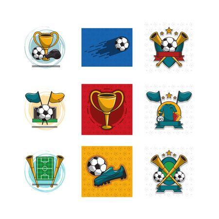 bundle of soccer sport icons vector illustration design