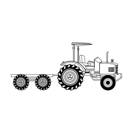 farm truck with fruit load over white background, vector illustration