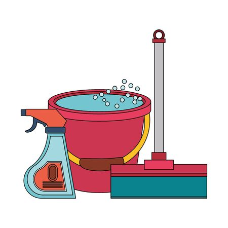 Cleaning equipment and products mop and disinfectant with water bucket vector illustration graphic design. Ilustracja