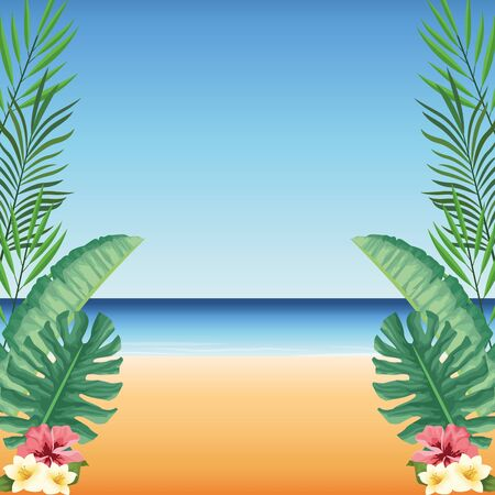 summer time in beach tropical leaves monstera flowers hibiscus sand sea vector illustration