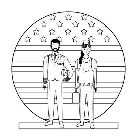 labor day employment occupation national celebration, pilot with builder woman workers in front american united states flag cartoon vector illustration graphic design