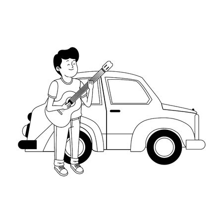 classic car and teenager boy with guitar over white background, vector illustration