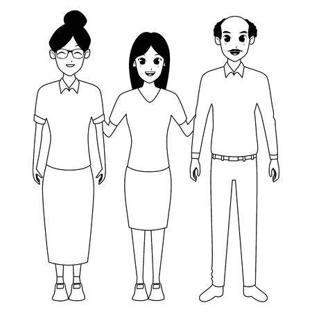 Family grandmother and grandfather with adult granddaughter vector illustration graphic design