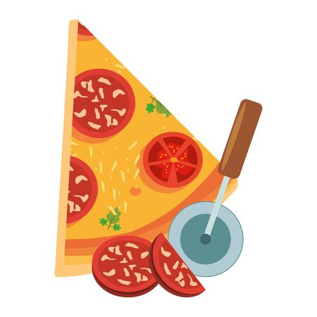 italian pizza slice and cutter icon over white background, vector illustration