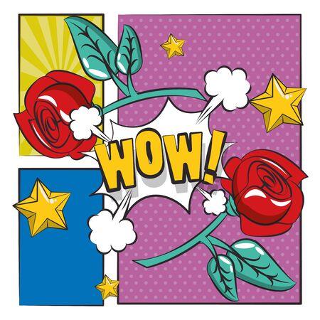 poster pop art style with rose flower vector illustration design