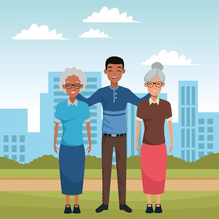 Family two grandmothers with adult afro grandson in the city park scenery ,vector illustration graphic design. Иллюстрация