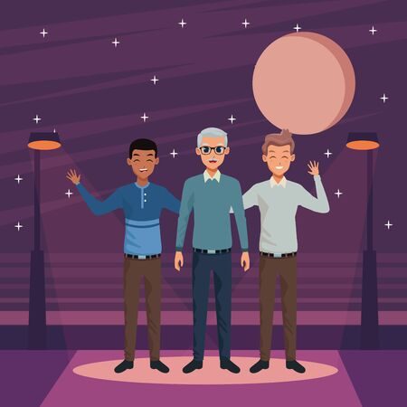 Family old father with adult sons greeting and smiling in the street at night ,vector illustration graphic design.
