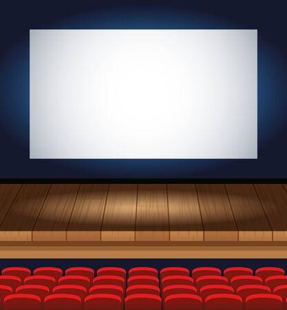 Entretenimiento de cine con sillas y escena de visualización, diseño de ilustraciones vectoriales Ilustración de vector