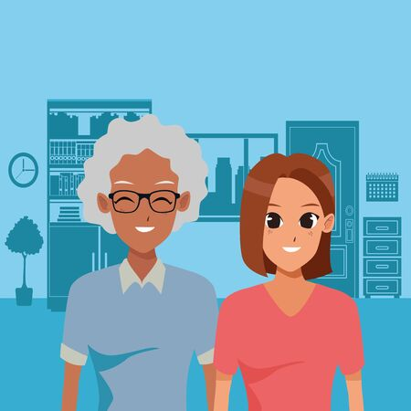 Family adult daughter taking care of old mother inside home vector illustration graphic design