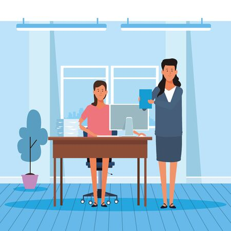 cartoon business women working in the office, colorful design. vector illustration