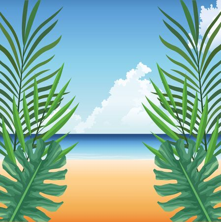 summer time in beach tropical leaves sand sea background vector illustration