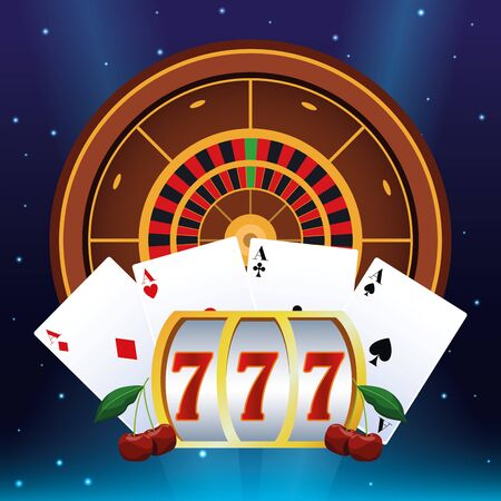 slot machine roulette poker cards betting game gambling casino vector illustration