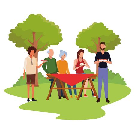 avatar friends and family eating sandwiches and enjoying a picnic time outdoor, colorful design , vector illustration