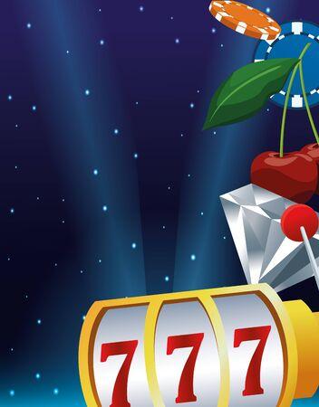 slot machine diamond cherry chips betting game gambling casino vector illustration Illustration