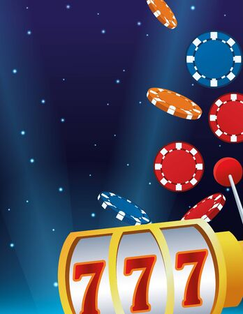 falling chips slot machine betting game gambling casino starry bright background vector illustration