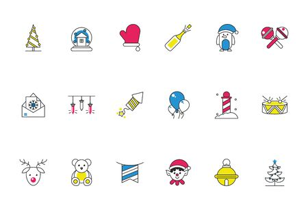 bundle of happy merry christmas icons vector illustration design