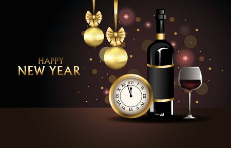 happy new year card with watch and wine vector illustration design Ilustracja