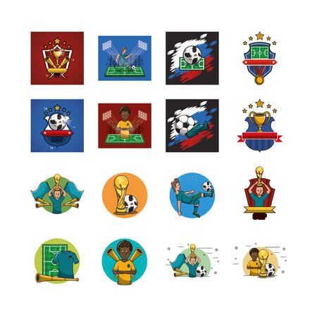 sports and athletes bundle icons vector illustration design
