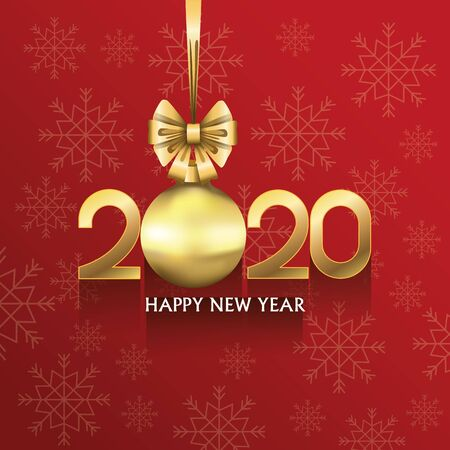 happy new year 2020 card with number and ball hanging vector illustration design Illustration