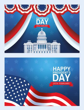 happy presidents day poster with usa capitol building and flag vector illustration design 矢量图像