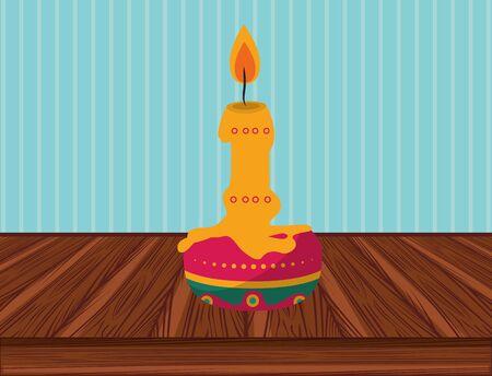 paraffin candle in table wooden vector illustration design Illusztráció